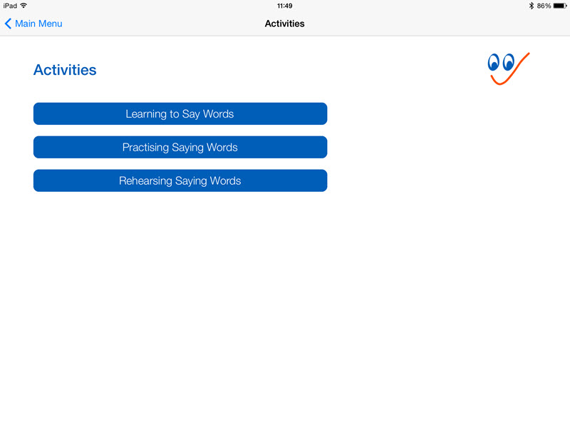Activities menu - See and Learn Saying Words 1 iPad App