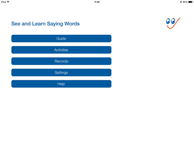 Main menu - See and Learn Saying Words 1 iPad App