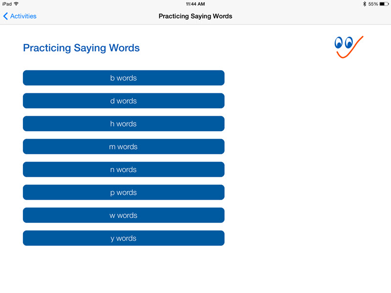 Practicing Saying Words options screen