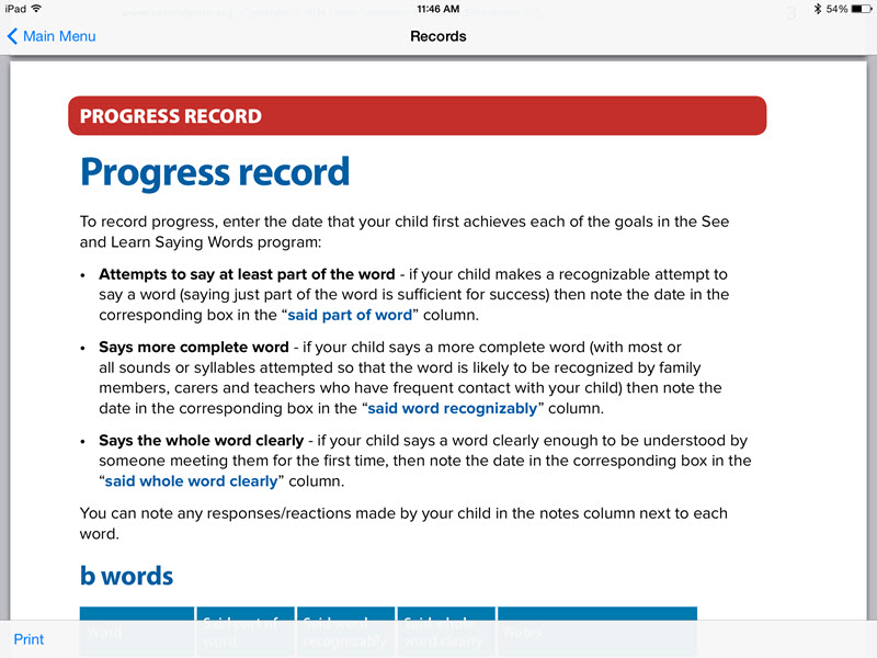 Records screen - See and Learn Saying Words 1 iPad App