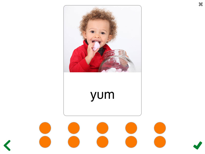 Rehearsing Saying Words activity screen