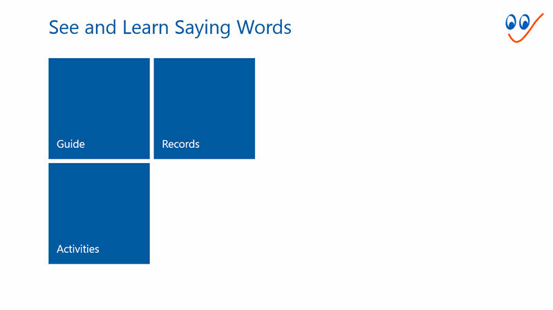 Main menu - See and Learn Saying Words 1 Windows app