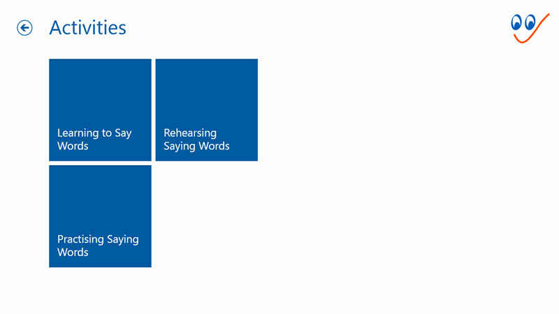 Activities menu - See and Learn Saying Words 1 Windows app
