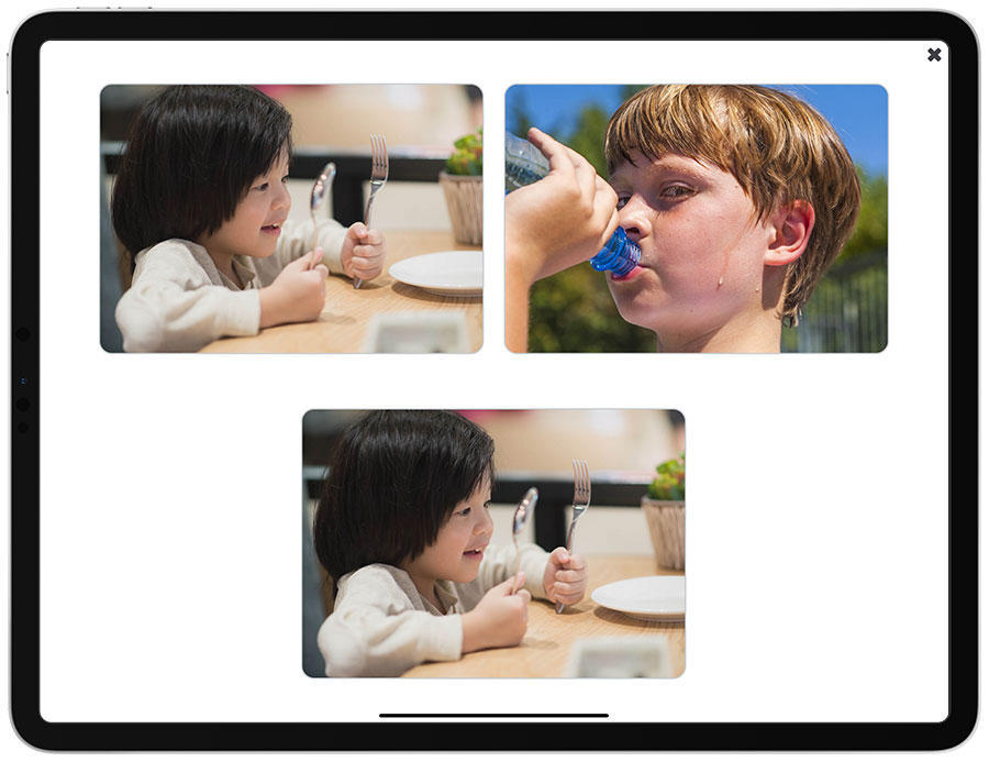 Picture of the iPad edition of See and Learn Sentences 1 - Matching Pictures activity