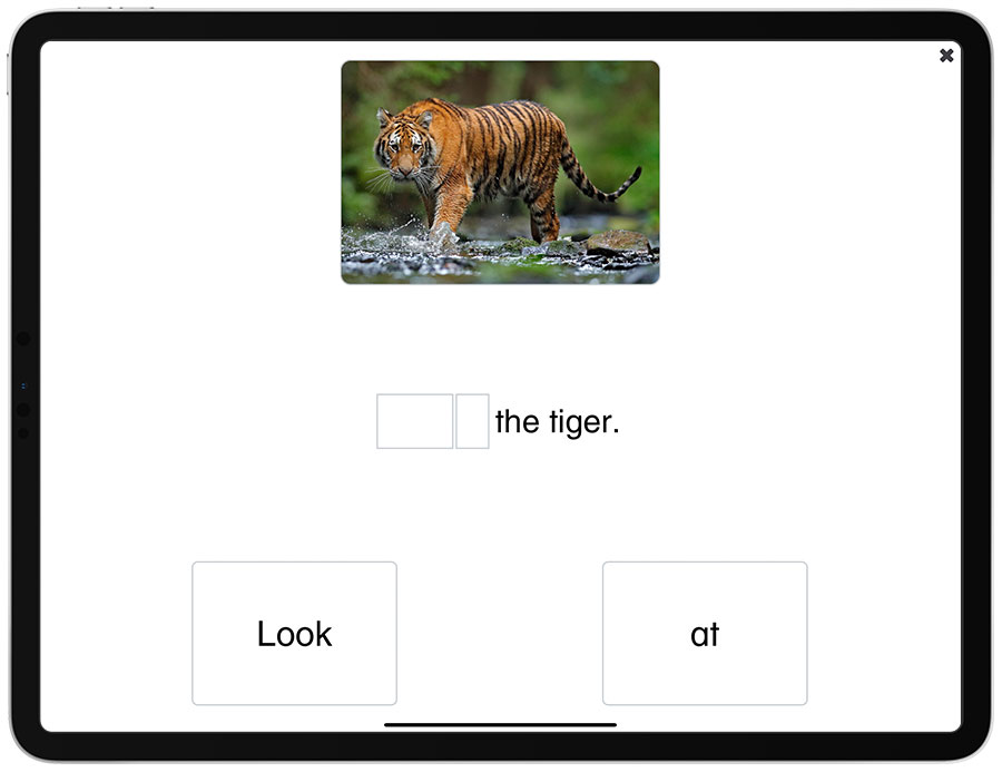 Picture of the iPad edition of See and Learn Sentences 1 - Building Sentences activity