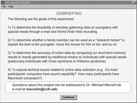 Debriefing form for online experiment